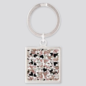 Rose Gold Sparkle Hearts Keychains