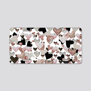 Rose Gold Sparkle Hearts Aluminum License Plate