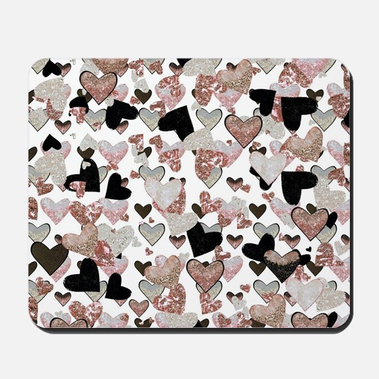 Rose Gold Sparkle Hearts Mousepad