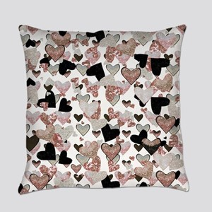 Rose Gold Sparkle Hearts Everyday Pillow