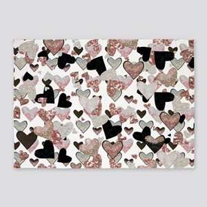 Rose Gold Sparkle Hearts 5'x7'Area Rug