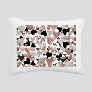 Rose Gold Sparkle Hearts Rectangular Canvas Pillow