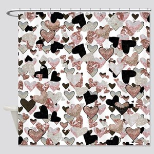 Rose Gold Sparkle Hearts Shower Curtain