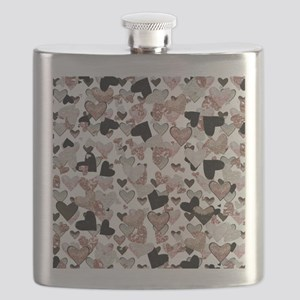 Rose Gold Sparkle Hearts Flask