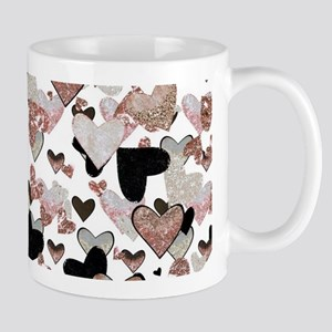 Rose Gold Sparkle Hearts Mugs