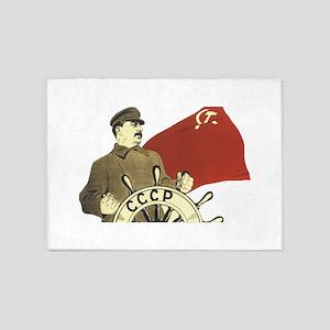 stalin communist soviet propaganda 5'x7'Area Rug