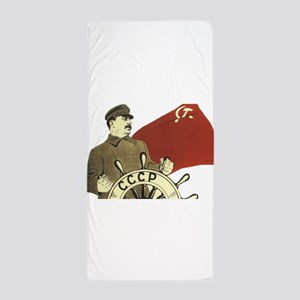 stalin communist soviet propaganda Beach Towel