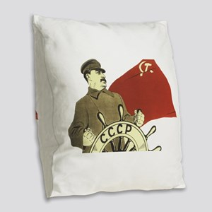 stalin communist soviet propag Burlap Throw Pillow
