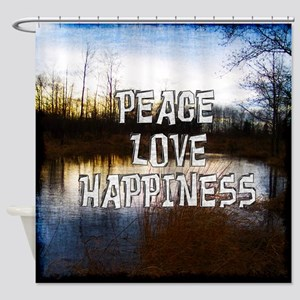 Peace Love Happiness Shower Curtain