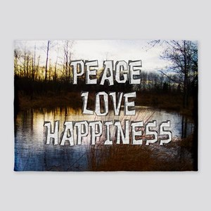 Peace Love Happiness 5'x7'Area Rug