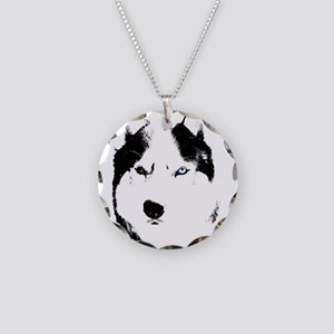 Husky Bi-Eye Husky Dog Necklace Circle Charm