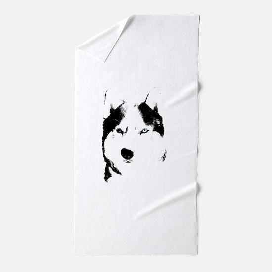 Husky Bi-Eye Husky Dog Beach Towel