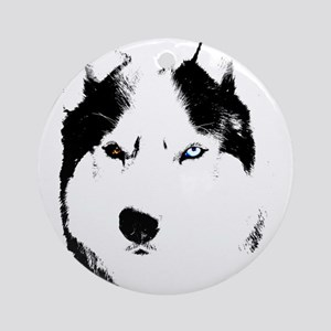 Husky Bi-Eye Husky Dog Round Ornament