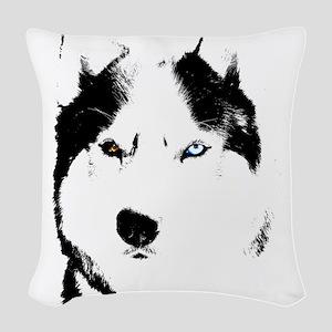 Husky Bi-Eye Husky Dog Woven Throw Pillow