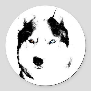 Husky Bi-Eye Husky Dog Round Car Magnet