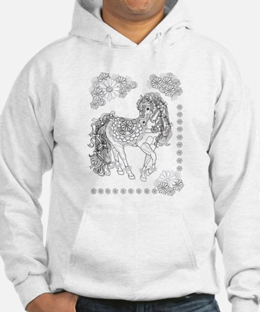 Prancing Daisy Horse Design Hoodie