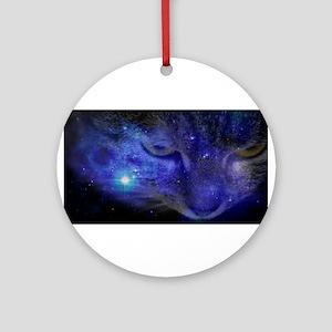 Intergalactic Feline Round Ornament