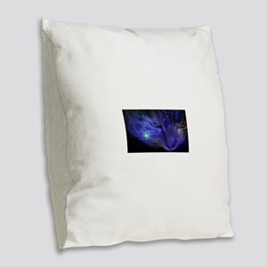 Intergalactic Feline Burlap Throw Pillow