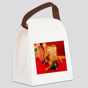 Christmas Lizard Canvas Lunch Bag