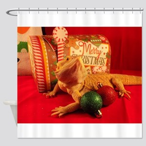 Christmas Lizard Shower Curtain