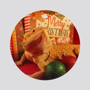 Christmas Lizard Round Ornament