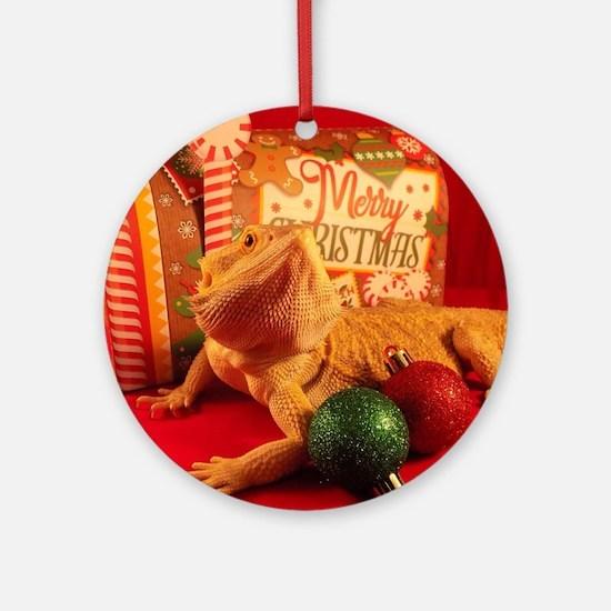 Christmas Lizard Round Ornament