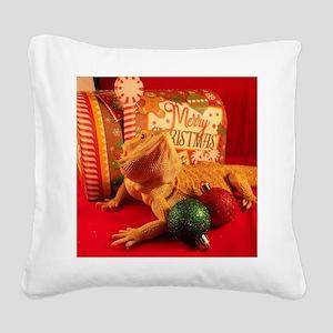 Christmas Lizard Square Canvas Pillow