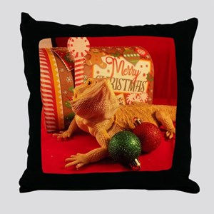 Christmas Lizard Throw Pillow