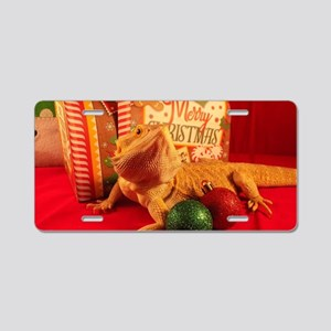 Christmas Lizard Aluminum License Plate