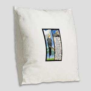 The Cockatiel Burlap Throw Pillow