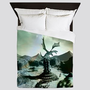 Awesome dragon, fantasy world Queen Duvet