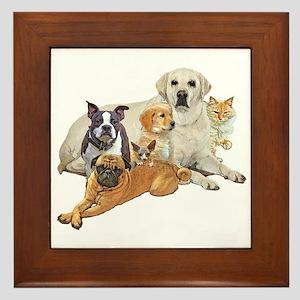 Dog posse with cats Framed Tile