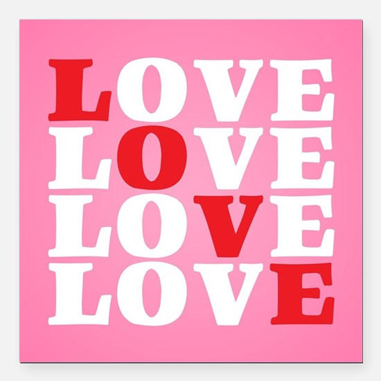 "LOVE Square Car Magnet 3"" x 3"""