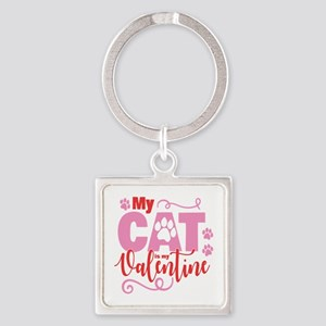 Cat is My Valentine Square Keychain