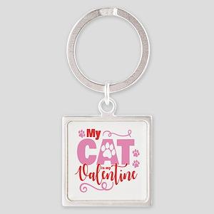 Cat is My Valentine Square Keychain