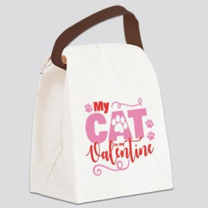 Cat is My Valentine Canvas Lunch Bag