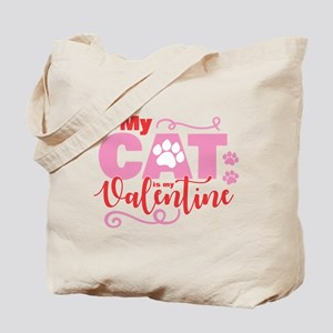 Cat is My Valentine Tote Bag
