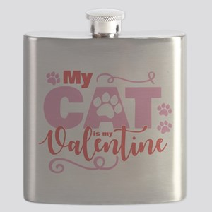 Cat is My Valentine Flask
