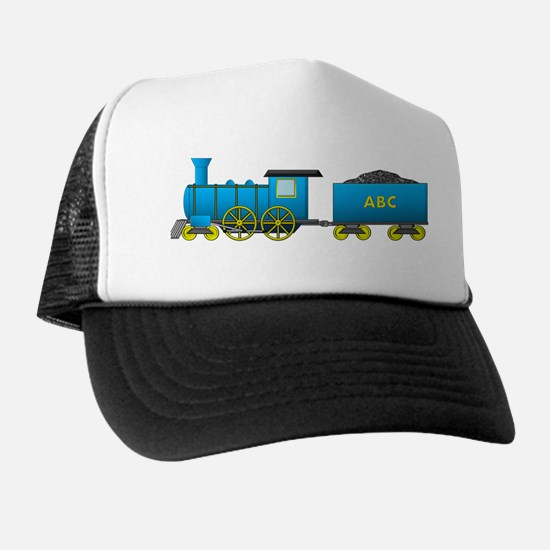 Blue engine and tender Trucker Hat