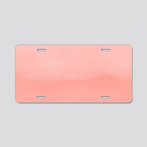 Salmon Pink Ombre Watercolor Aluminum License Plat