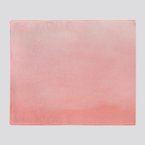 Salmon Pink Ombre Watercolor Throw Blanket