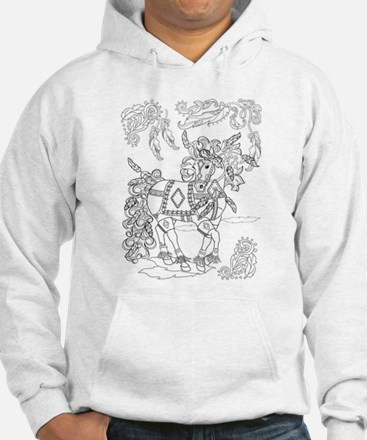Prancing Feather Horse Design Hoodie
