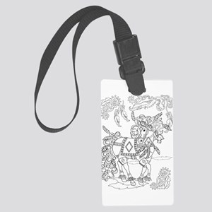 Prancing Feather Horse Design Large Luggage Tag