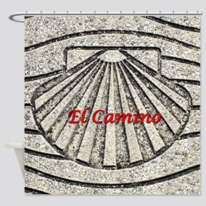 El Camino shell, pavement, Spain (c Shower Curtain