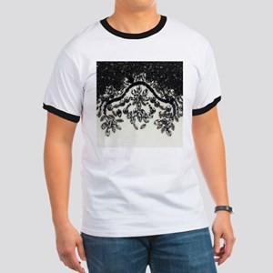boho floral black rhinestone T-Shirt