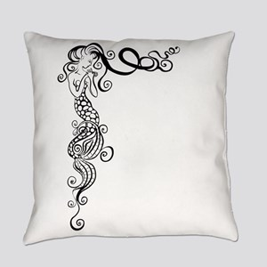Black/White Mermaid Everyday Pillow