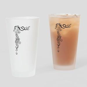 Black/White Mermaid Drinking Glass