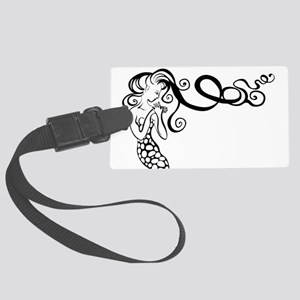 Black/White Mermaid Large Luggage Tag