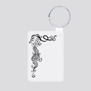 Black/White Mermaid Aluminum Photo Keychain