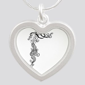 Black/White Mermaid Silver Heart Necklace